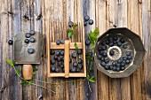 Blueberries with kitchen utensils