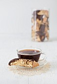 Orange ginger biscotti with cup of coffee