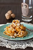 Pasta with roastet pumpkin puree and walnuts