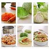 Vegetarian stuffed cabbage rolls being made