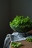 Fresh lettuce in a wire basket on a table with a tea towel.