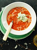 Tomato soup with herb ricotta