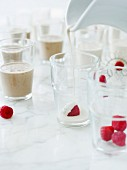 Mocha panna cotta with raspberries