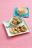 Onion pancakes with stir-friend mushrooms