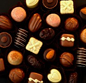 Belgium continental chocolates from above