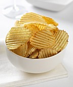 cheese and onion crinkle potato crisps in a bowl