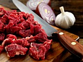 diced beef steak onions and garlic