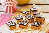 Caramel slices with chocolate glaze