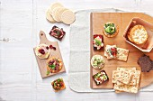 Various canapes made with crackers, crispbread and pumpernickel