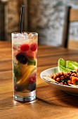 Glass of White Sangria with Assorted Fruit