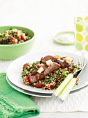 Fetta-stuffed sausages with tabouli