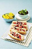 Greek-style hot dogs