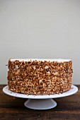 Coconut cake decorated with brittle