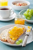 White bread and marmalade for breakfast