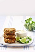 Lentil cakes with chilli and garlic