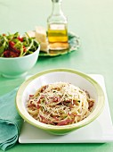 Salami and zucchini spaghetti