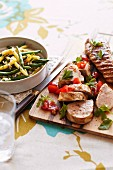 Pork fillet with a warm bean salad