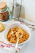 Spaghetti bolognese with Parmesan