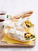 A scrambled egg burrito for breakfast on the run
