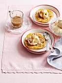 Banana rum tart tatin with vanilla ice cream