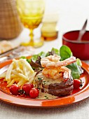 Surf and Turf (steak and prawns)