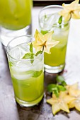 A star fruit drink with mint
