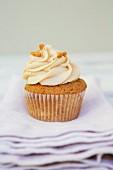 A banana nut cupcake