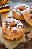 Glazed doughnuts with crispy bacon