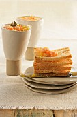 Stack of toast with a prawn spread