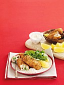 Potato croquettes with peas, ham and cheese