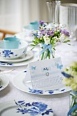 Place card name tag on set wedding reception table