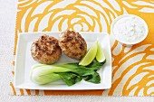 Meatballs with bok choy and yogurt sauce with mint