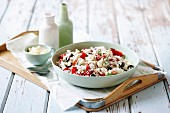Rice salad with pepper and olives