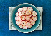 Radish salad with lemon zest and pepper
