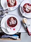 Rhubarb and raspberry cobbler with buttermilk ice cream