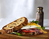 Fried egg, tomato and rocket sandwich on whole grain bread