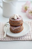 Almond sponge cakes with cherry blossom syrup
