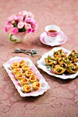 Mini savoury pastries served with tea