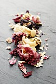 Dried okra flowers (close-up)