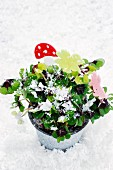 Lucky clovers in flower pot decorated with lucky symbols