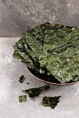 A bowl of seaweed chips