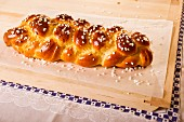 Bread plait with sugar crystals