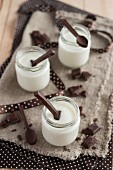 Yogurt with chocolate spoons