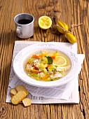 Lemon soup with chicken and orzo pasta