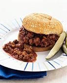 Sloppy Joe burger with gherkins