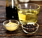 Dijon mustard, peppercorns, white wine vinegar and balsamic vinegar