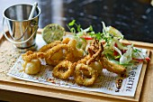 Fried squid rings with a mixed leaf salad
