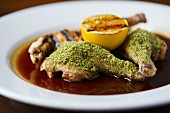 Chicken legs with a herb crust and lemon