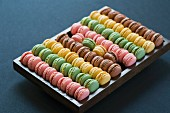 Macaroons in a wooden box