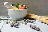 A Mediterranean arrangement featuring lavender and pasta